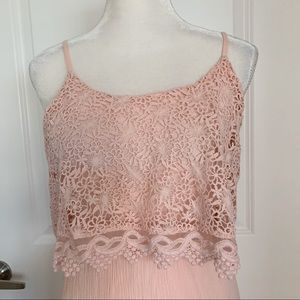 Pale Pink Maxi Dress Lace Embroidered Top Sz. S